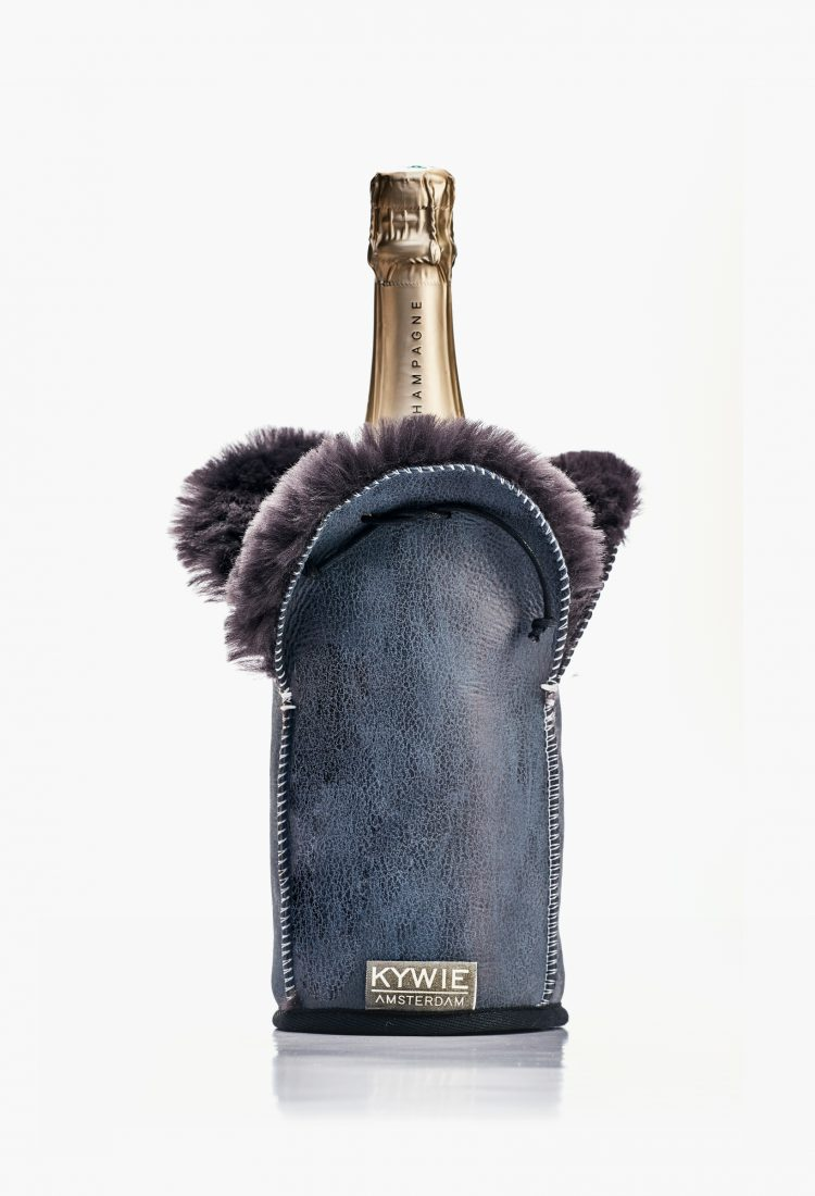 wool and leather grey kywie champagne cooler, cool and sparkling