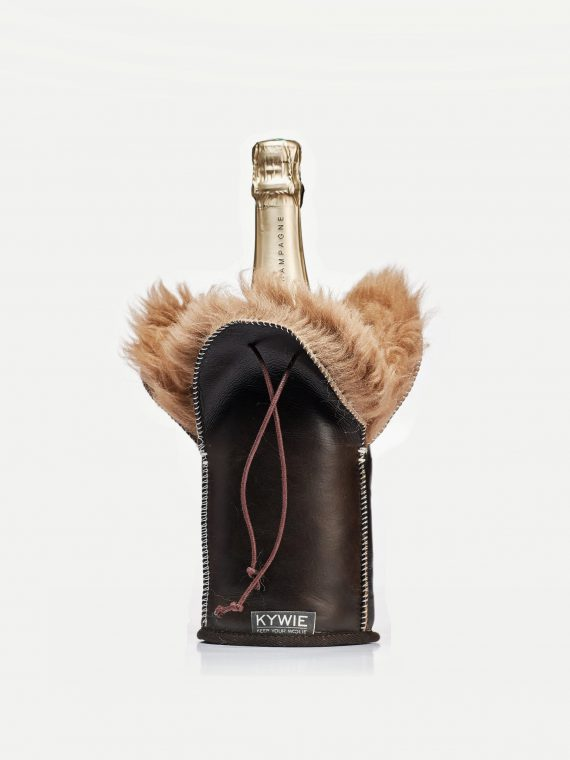 long hairy champagne cooler made of English sheepskin