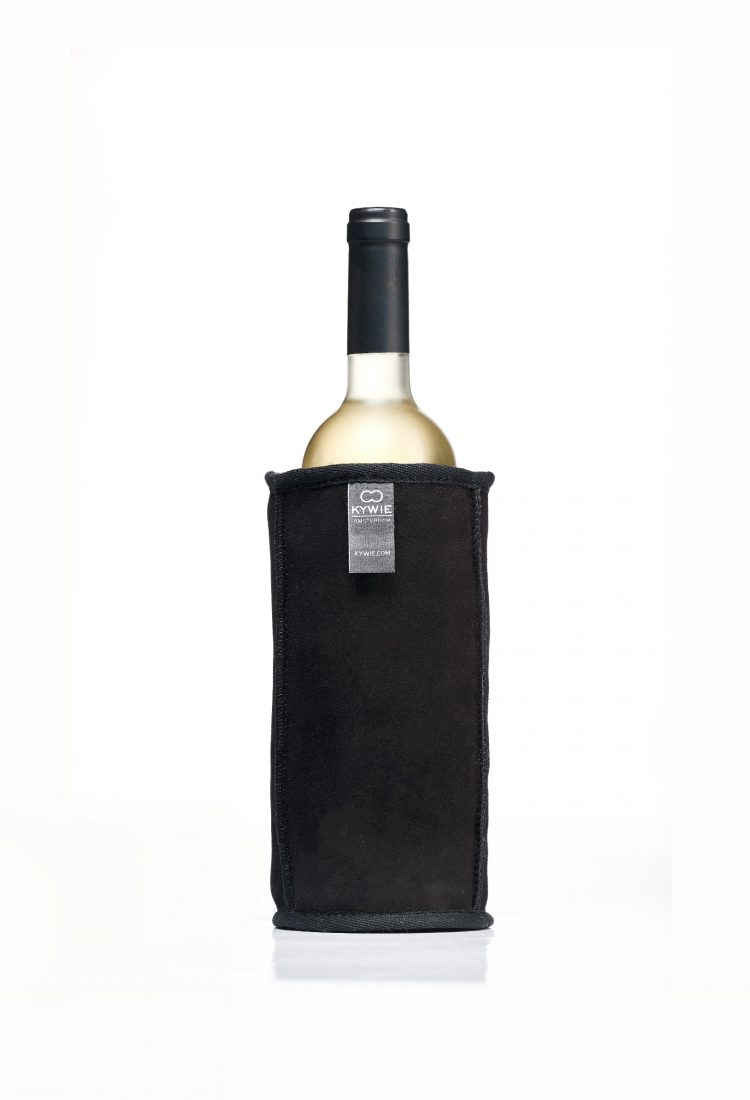 pitch black wine cooler made of sheepskin with cold white wine