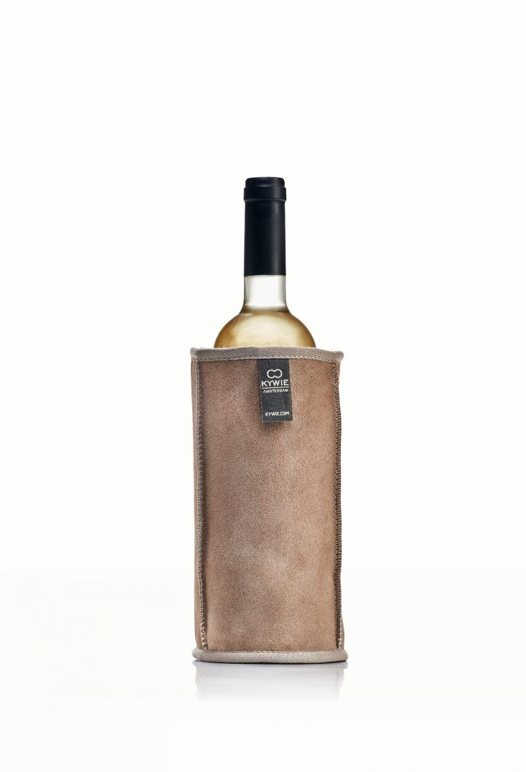 warm day white wine in kywie cooler made of wool