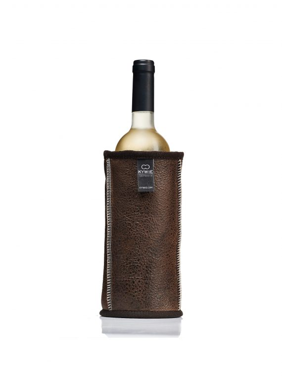 white wine in sheepskin cooler and brown leather, perfect for bbq