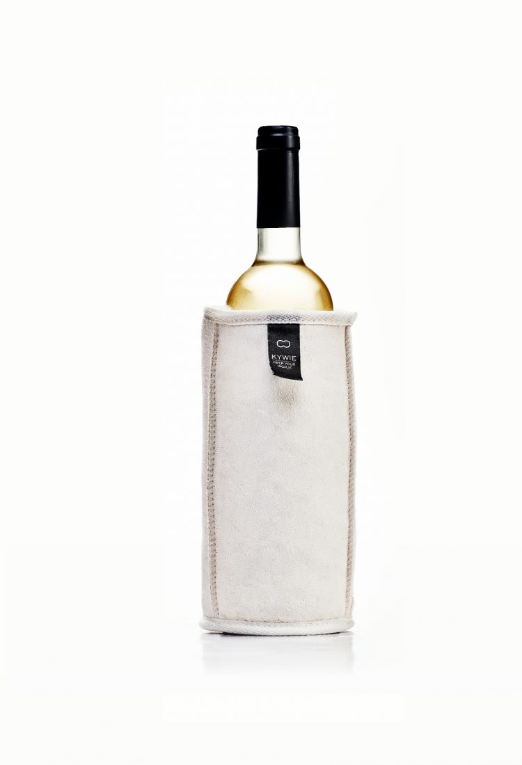 White suede and woolen wine cooler made for white wine