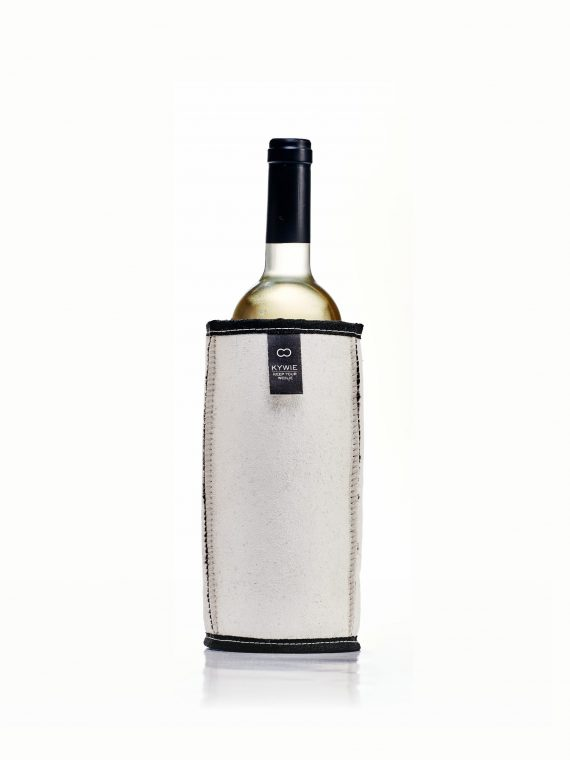 Wine cooler with black texel wool and white suede